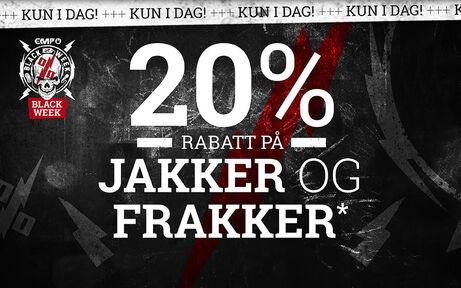 20% RABATT PÅ JAKKER OG FRAKKER
