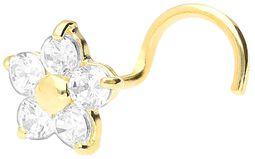Real Gold Crystal Flower Nosestud