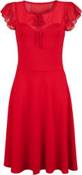Victoria Red Flutter Sleeve Dress