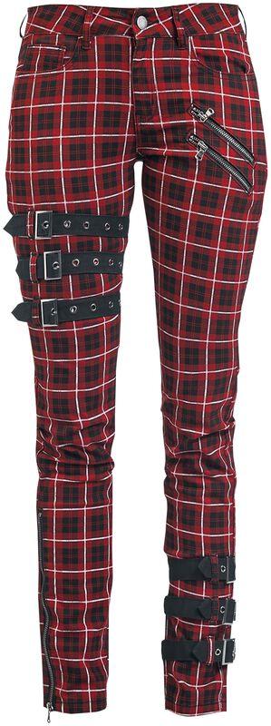 Skarlett - Rot/schwarz karierte Hose mit Schnallendetails