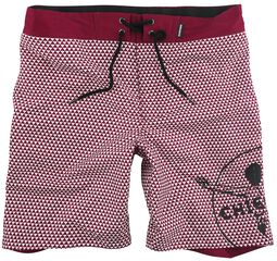 RED X CHIEMSEE - red/white swim shorts with print