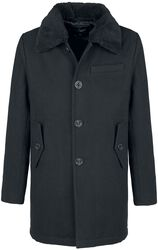 Manhattan Pea Coat with Fur Collar