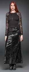 Long Lacquer Skirt With Belts