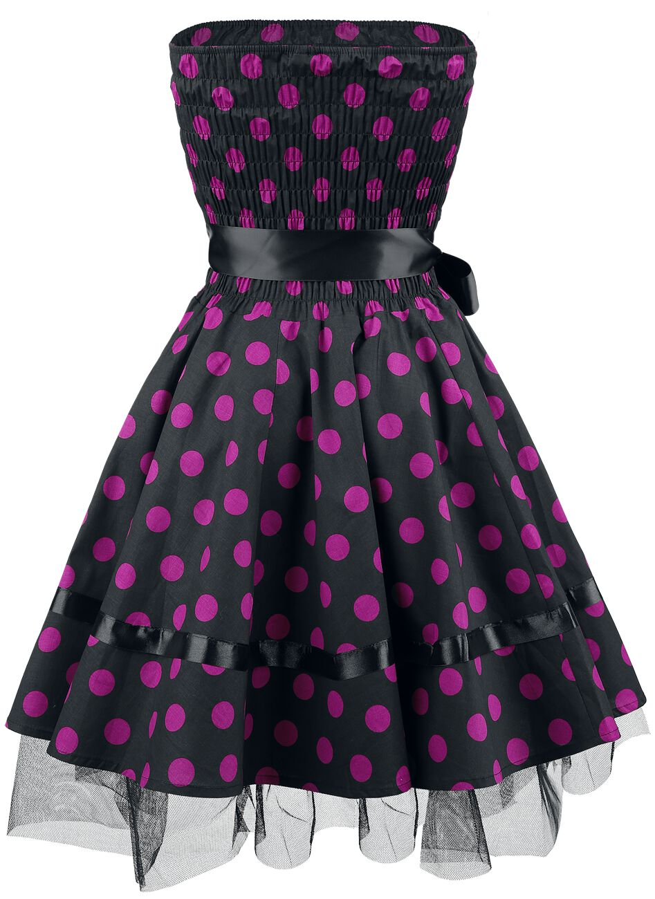12399cd0 Kjole med lilla prikker   H&R London Kort kjole   EMP