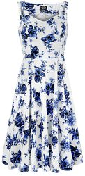 Blå kjole med rosemønster